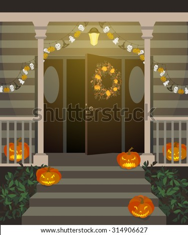 Halloween decorated front door and porch with pumpkins and wreath. Vector illustration.  - stock vector
