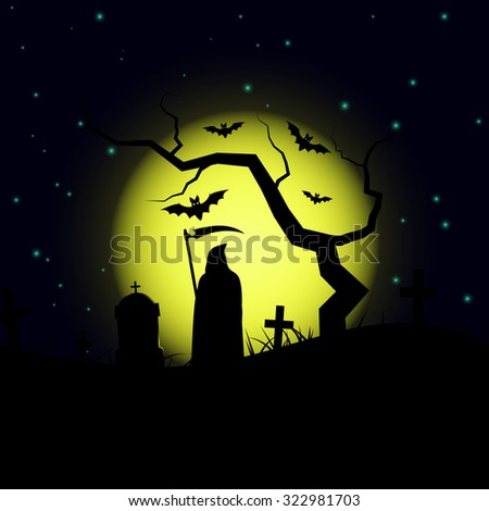 Halloween design background with spooky graveyard, naked tree, graves,bats and grim reaper silhouette. - stock vector