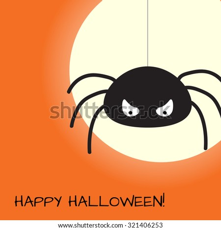 Halloween design template with spider, moon and place for text. Vector EPS10 - stock vector