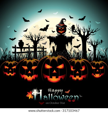 Halloween Design with Pumpkins and Scarecrow in front of Full Moon - stock vector
