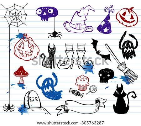 Halloween doodle set vector illustration. - stock vector