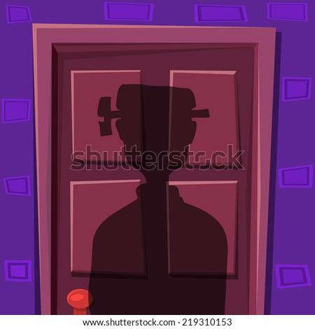 Halloween door shadow with frankenstein siluet - stock vector