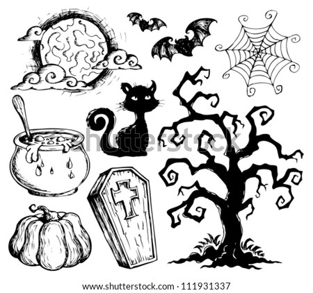 Halloween drawings collection 2 - vector illustration. - stock vector