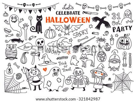 Halloween Drawings Vector Set  of  Design Elements - stock vector