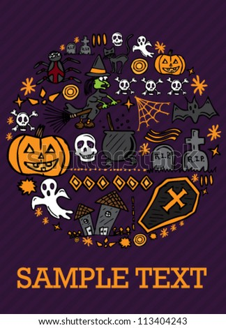Halloween drawn icons collage card template - stock vector
