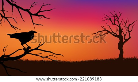 Halloween evening vector background with raven bird and bare twisted tree branches silhouette - stock vector