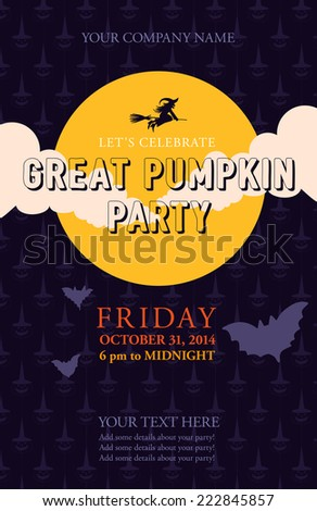 Halloween event poster template for your design. Great pumpkin party. Vector background with moon, clouds, flying witch, bats and scary pumpkins. - stock vector