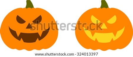 Halloween evil pumpkin vector icons set, Emotion Variation. Simple flat style design elements. Set of silhouette spooky horror images of pumpkins. Scary Jack-o-lantern facial expressions.  - stock vector
