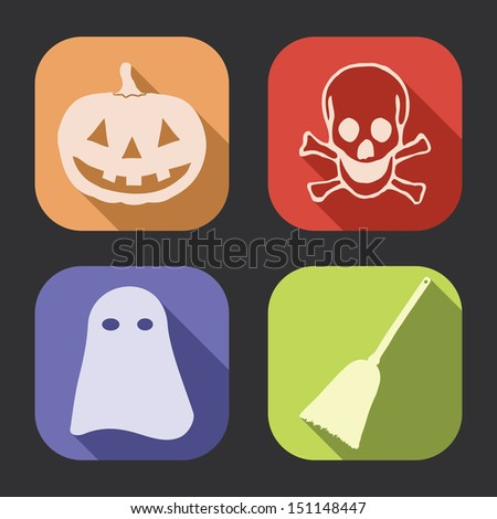 Halloween flat design, long shadow vector icons collection (set). - stock vector