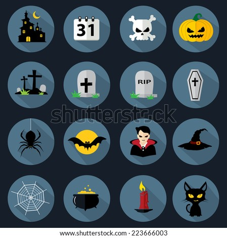 Halloween flat icons - stock vector