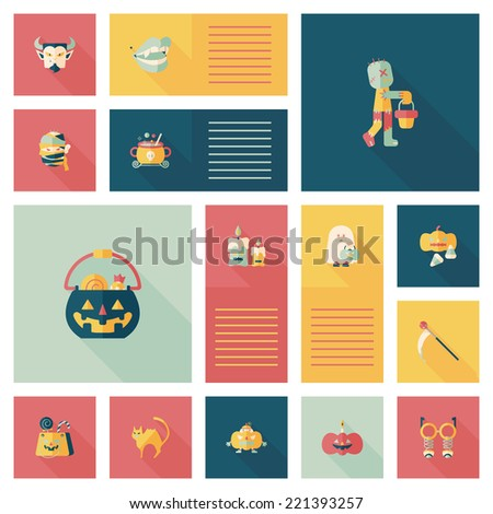 Halloween flat ui bakcground set - stock vector