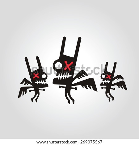 Halloween flying monsters with wings characters illustration - stock vector