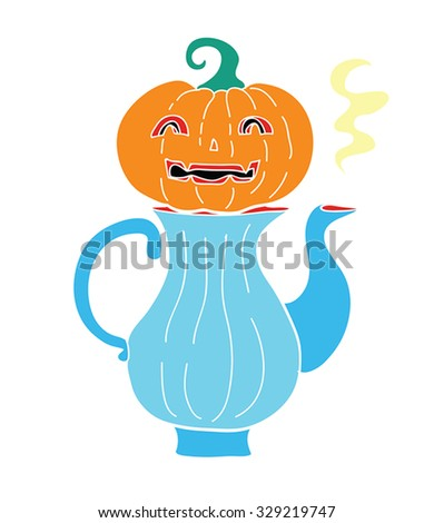Halloween food retro cartoon - Pumpkin carving head on green tea pot with hot portion. Free hand drawn Halloween tea pot drawing. Halloween drink doodle vector. Funny Halloween symbol. - stock vector