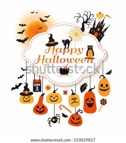 Halloween frame with celebration symbols. - stock vector
