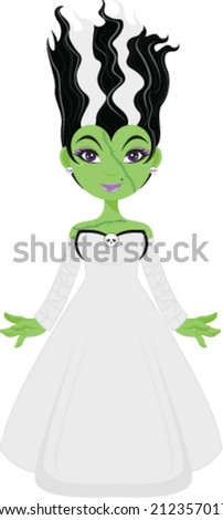 Halloween Frankensteins Bride - stock vector