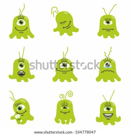 Halloween funny monster set - stock vector