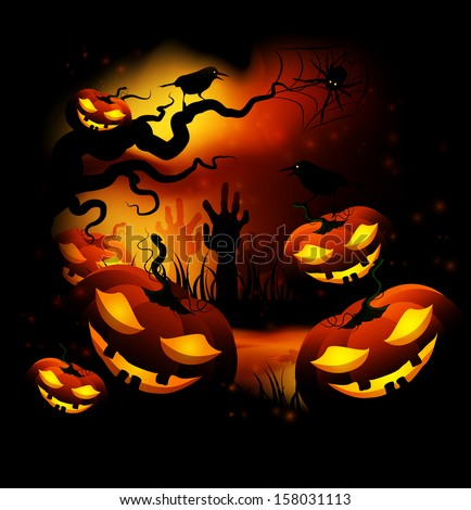 Halloween Funny Pumpkins At Night In The Forest - stock vector