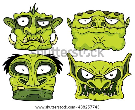 halloween green scary zombie head illustration - stock vector