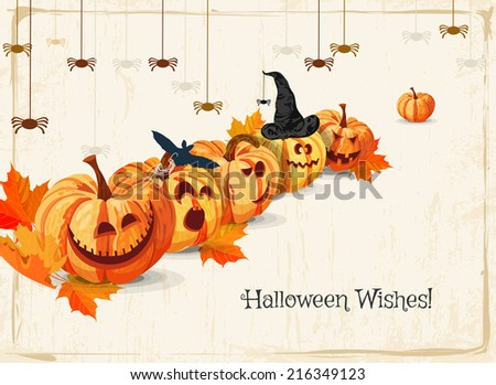 Halloween greeting card with pumpkins, with witch hat, spiders, bat. Trick or treat. - stock vector
