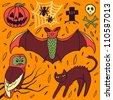 Halloween hand-drawn elements - stock vector