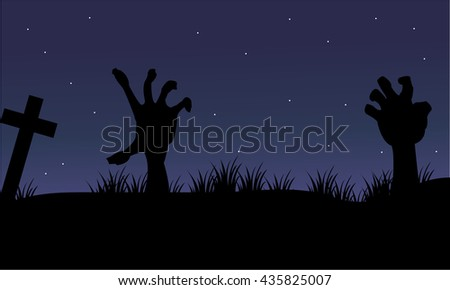 Halloween hand zombie of silhouette at the night - stock vector
