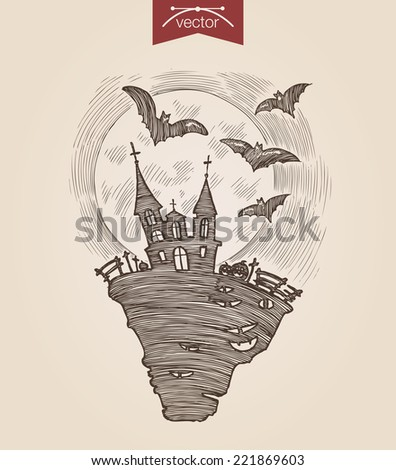 Halloween handdrawn engraving style template dark night scary castle flying bats full moon poster banner print web site pen pencil hatching paper painting retro vintage vector lineart illustration. - stock vector