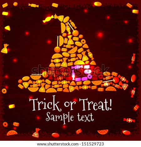 Halloween hat silhouette from candies and sweets on the grunge background with place for your text. Vector. - stock vector