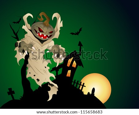 Halloween Haunted House Background With Pumpkin Head Ghost - stock vector