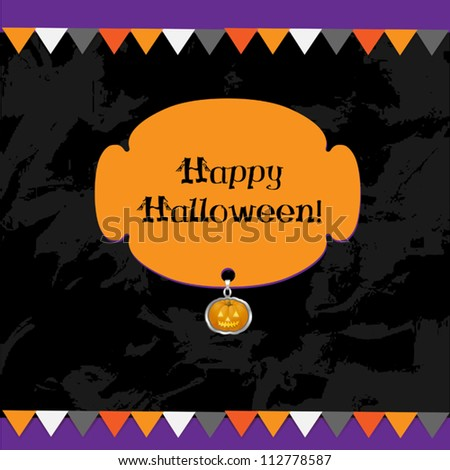 Halloween holiday card set with decor on darck background. Vector illustration. - stock vector