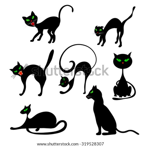 Halloween Holiday Elements Set. Collection With Black Cats in Different Poses Over White Background for Creating Halloween Designs.  Vector illustration. - stock vector