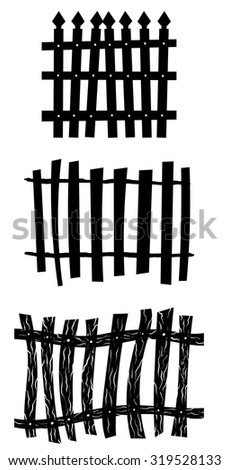 Halloween Holiday Elements Set. Collection With Different Shapes of Fence Over White Background for Creating Halloween Designs.  Vector illustration. - stock vector