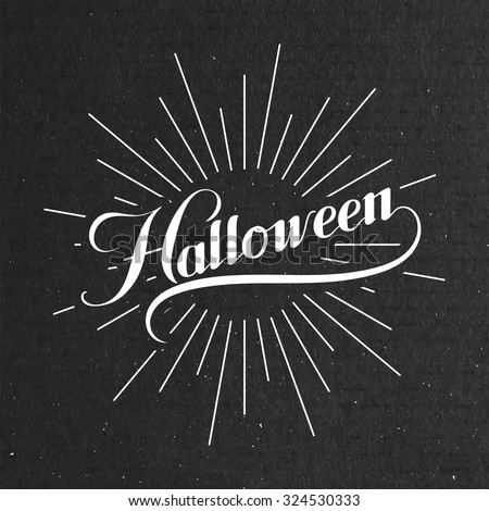 Halloween. Holiday Vector Illustration. Lettering Composition With Light Rays - stock vector