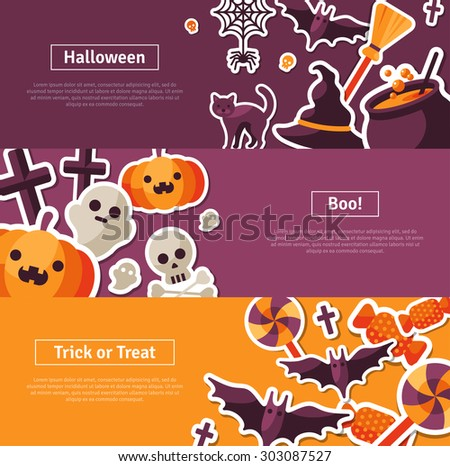 Halloween Horizontal Banners. Vector Illustration. Flat Halloween Icons. Trick or Treat Concept. Orange Pumpkin and Spider Web, Witch Hat and Cauldron, Skull and Crossbones. - stock vector