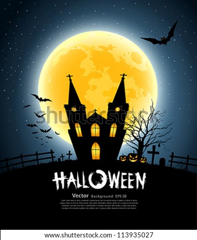 Halloween house party full moon, vector illustration - stock vector