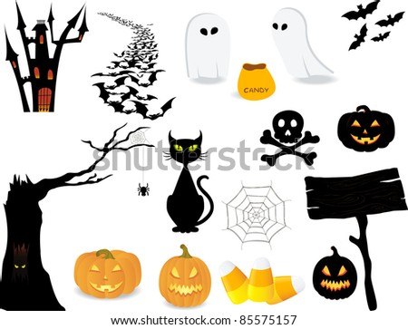 Halloween icon set to make your own design. - stock vector