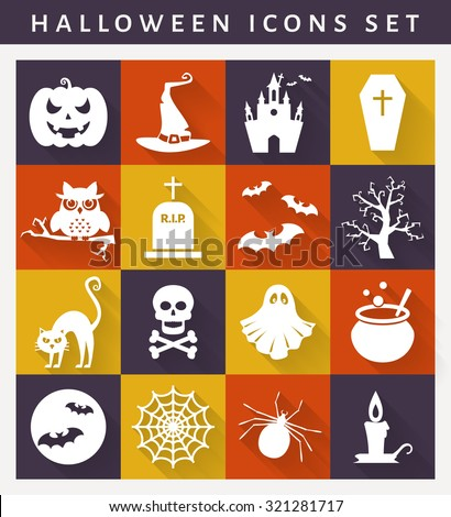 Halloween icons. Collection of white symbols on colored plates. Flat style with long shadows. Vector set. - stock vector