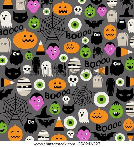 halloween icons pattern - stock vector
