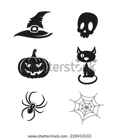 Halloween icons set - stock vector