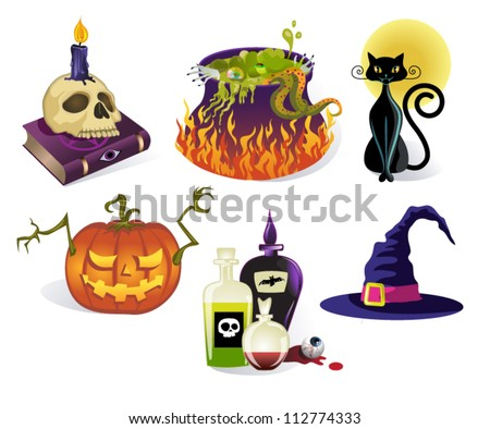 Halloween Icons - Set of six detailed vector Halloween icons, including skull on a spell book, witches cauldron, black cat, carved pumpkin, bottles with potions and witch hat - stock vector