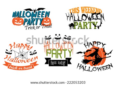 Halloween icons three for a Halloween Party and two with a Happy Halloween greeting decorated with black cats, pumpkins, witch, bats, jack-o-lanterns and ghosts - stock vector