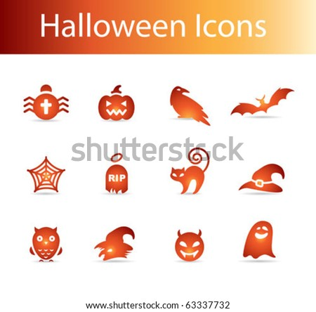 halloween icons vector - pumpkin, witch, bat, spider web, ghost, devil, cat, tomb, grave, magic hat - stock vector