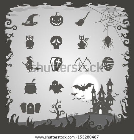 Halloween icons with Halloween background - stock vector