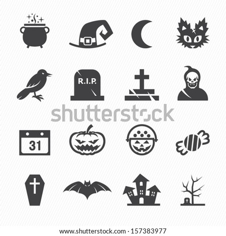 Halloween Icons with White Background - stock vector