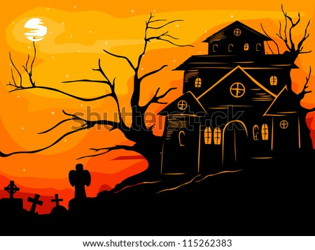 Halloween Illustration Featuring the Silhouette of a Haunted Framed by the Reddish Orange Sunset - stock vector