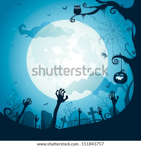 Halloween illustration - Graveyard - stock vector