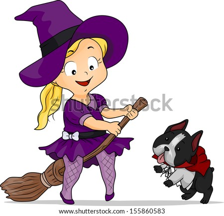 Halloween Illustration of a Little Girl Dressed as a Witch - stock vector