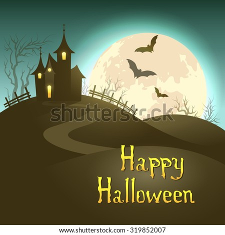 Halloween illustration of mysterious night landscape with castle and full moon. Vector EPS 10 - stock vector