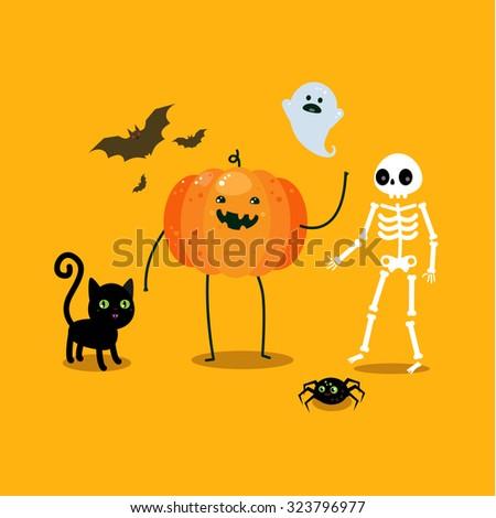Halloween illustration. Poster, flyer, banner or background for Halloween Party Night. Flat design, vector illustration. - stock vector
