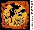 Halloween illustration with beautiful witch silhouette flying on the broom with cat - stock vector