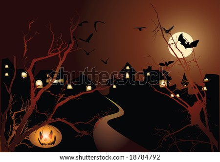 Halloween illustration with pumpkin - stock vector